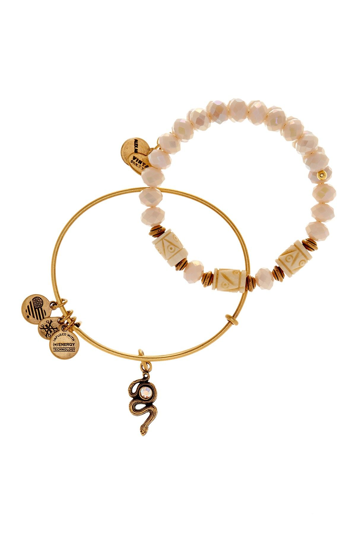 Alex And Ani Golden Snake Beaded Expandable Wire Bangle