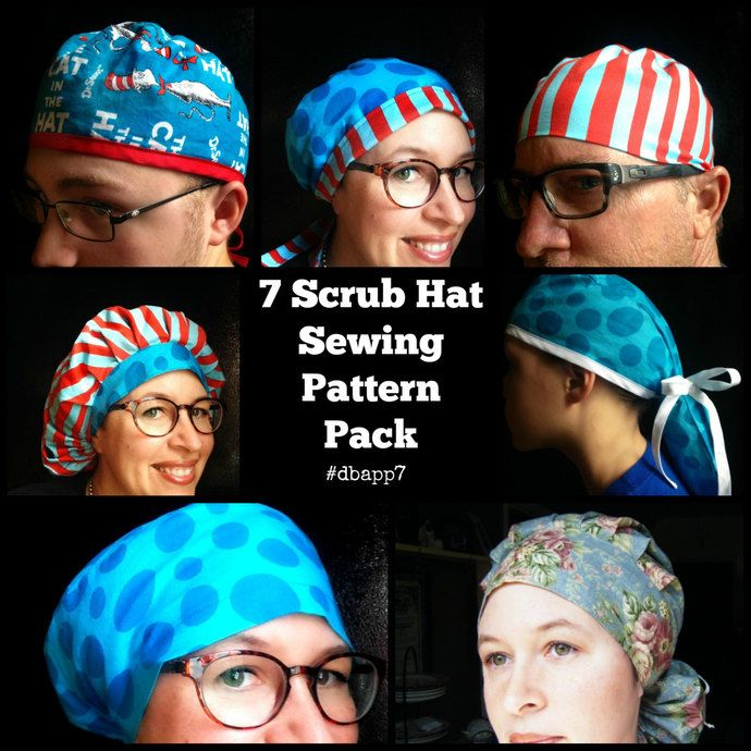 Scrub Hat Sewing Pattern tutorial DIY 7 surgical scrub cap sewing ...