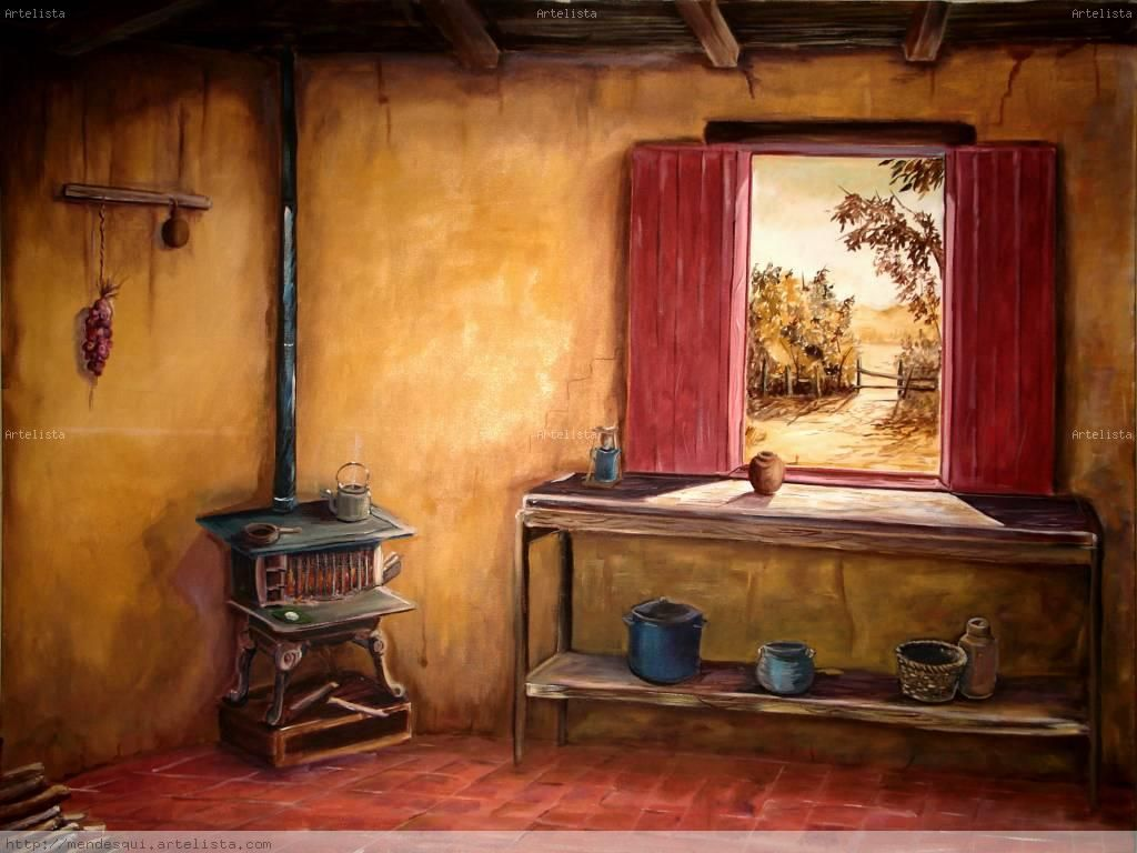 Resultado de imagen de cuadros para cocina antiguas me - Cocinas antiguas rusticas ...