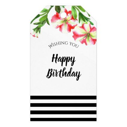 watercolor pink white petunias floral birthday gift tags pinterest
