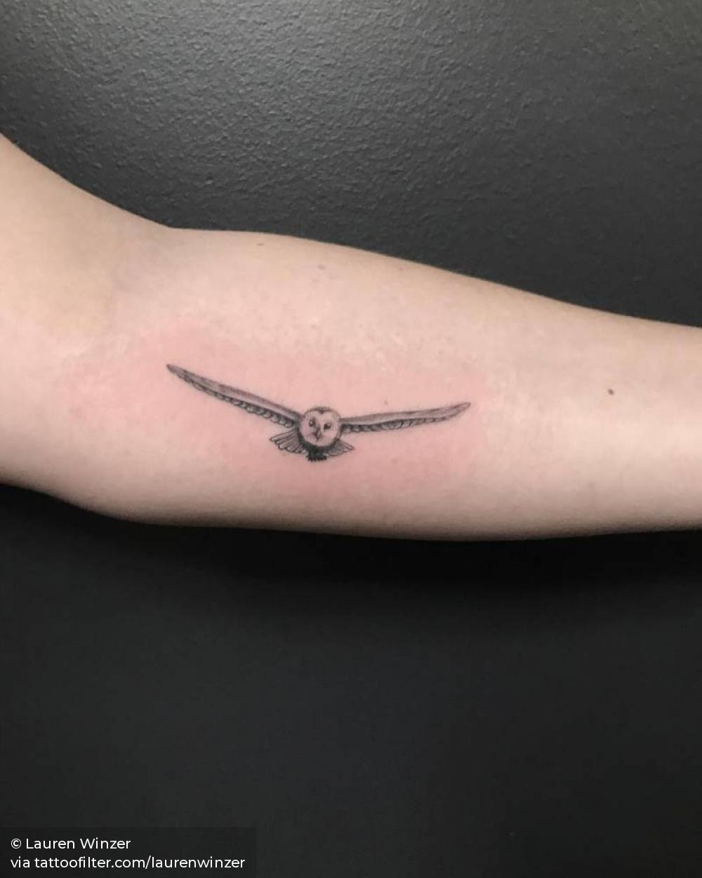 Flying barn owl tattoo Owl tattoo small, Barn owl tattoo