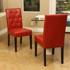 817056011511 Waldon Red Dining Chair (Set of 2) Full View in Room White Background
