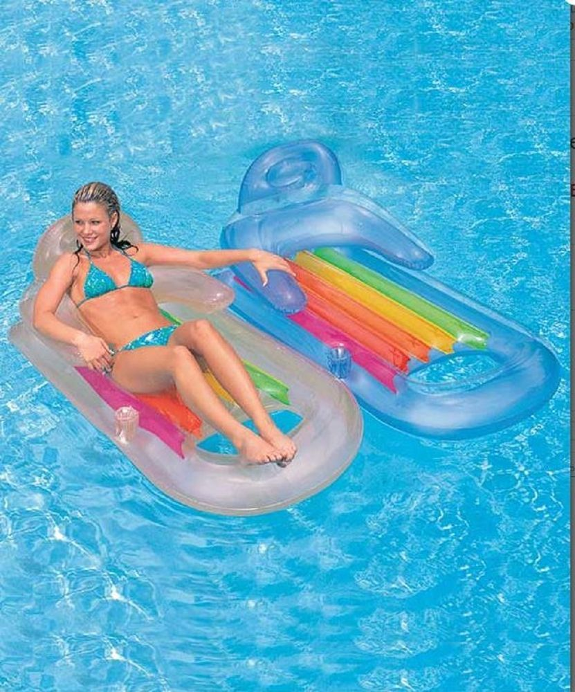 Pool Float Lounge Chair Water Fun Raft Cool Off Lounger Relax Cup Holders Pillow Pool Lounger Swimming Pool Toys Inflatable Pool