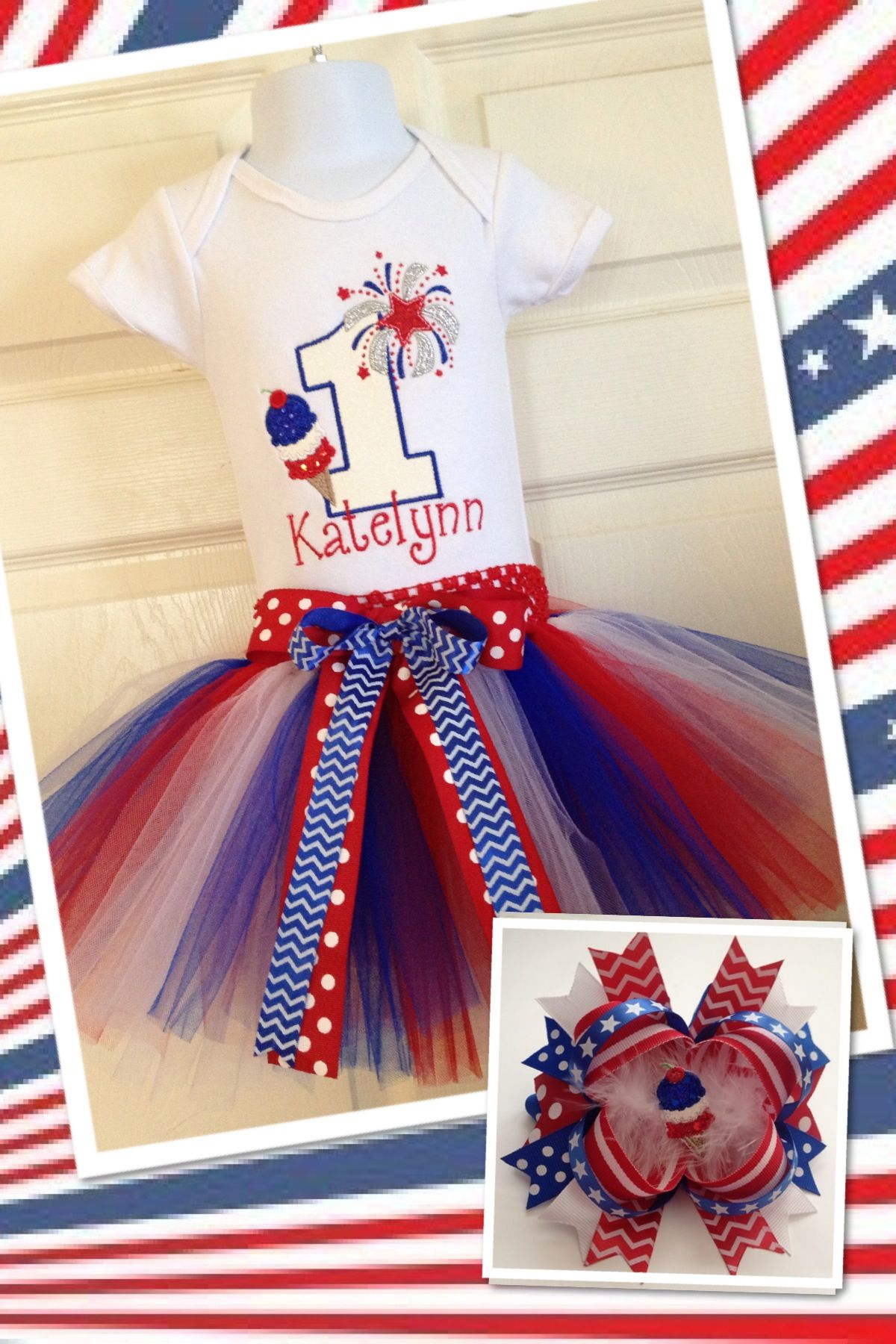 1st Birthday Party Outfits Cake Smash Clothes Striped Star 4th Of July Costume