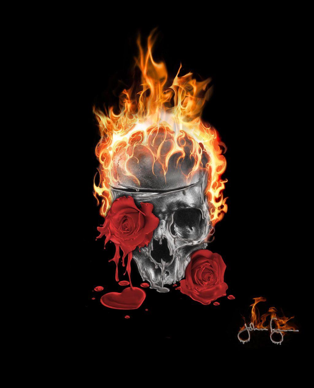 Pin On Flaming Skulls