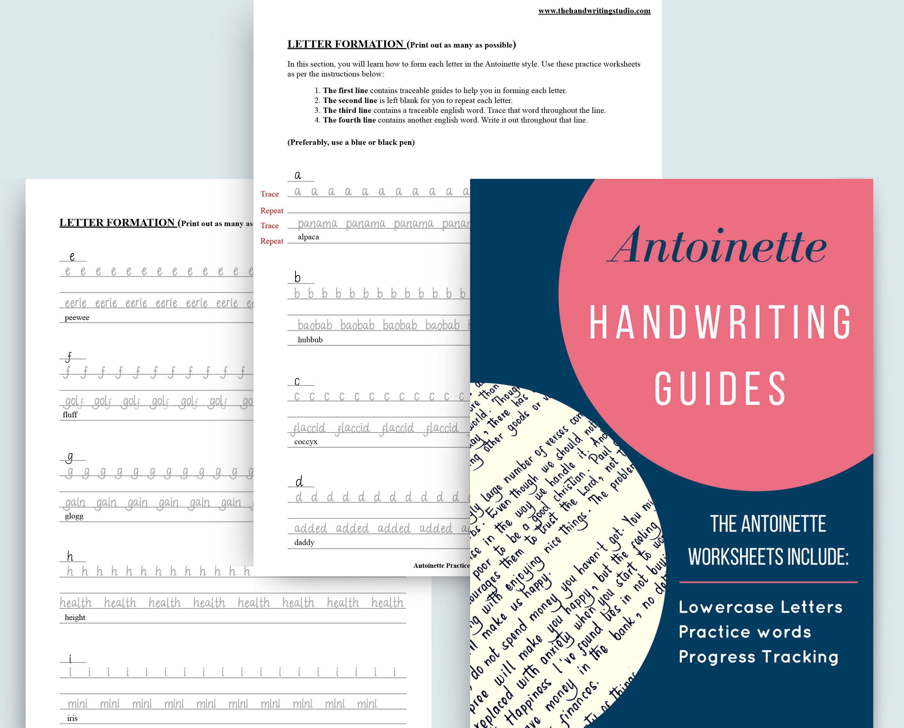 Antoinette Handwriting Practice Sheets Lowercase Uppercase And Number Guides Digital Worksheets Instant Download Handwriting Practice Sheets Handwriting Analysis Improve Your Handwriting [ 2418 x 3000 Pixel ]