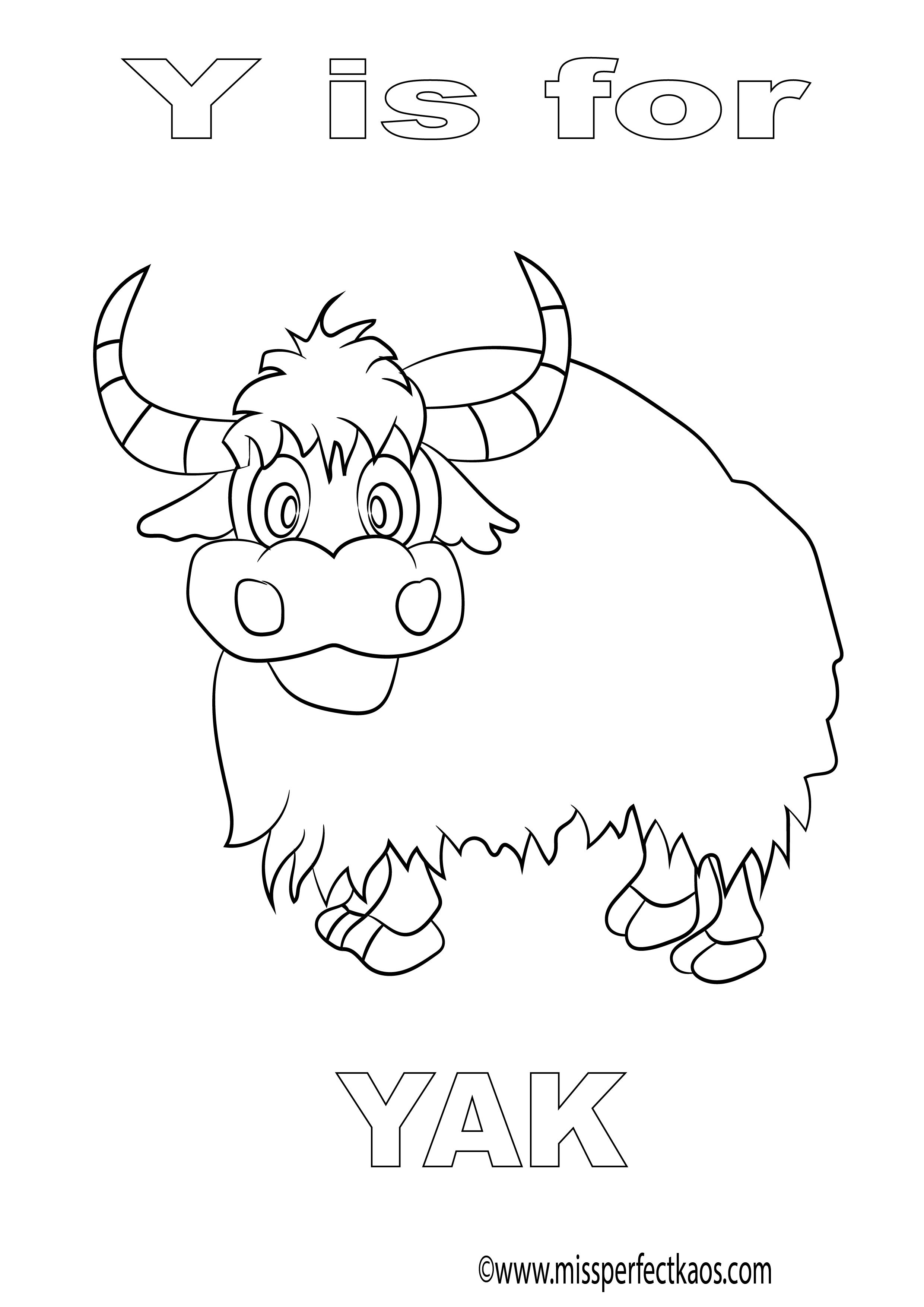 Y Is For Yak Coloring Page For Kids Learn The Alphabet