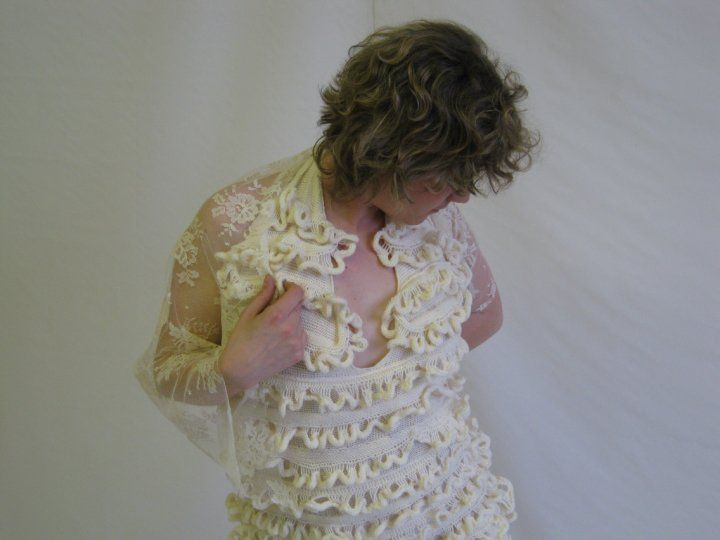Third year cream partial knitting dress (sheep meets flapper girl) show here beautifully by Lise