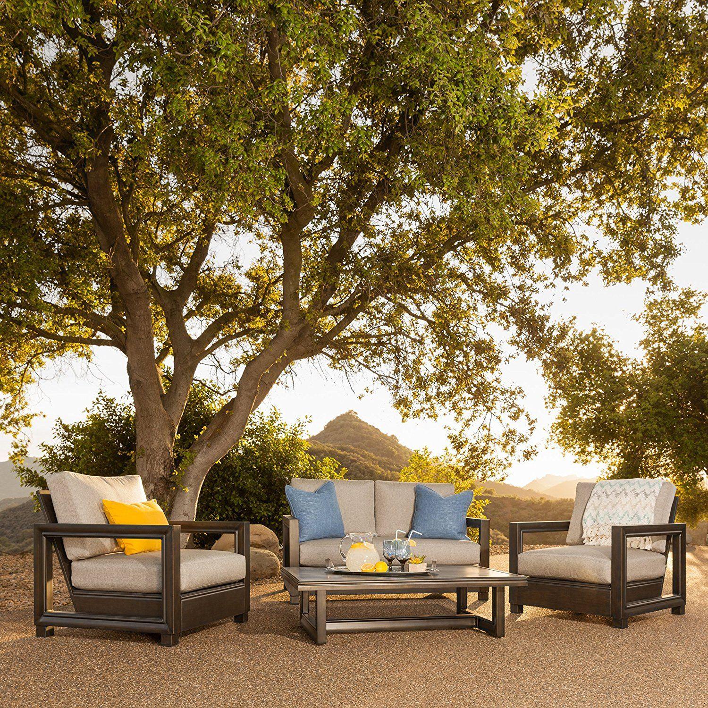 Amazon Com Russell 4 Piece Aluminum Cushion Seating Set 400 x 300