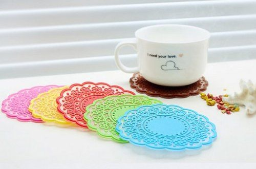 6x Sweet retro translucent crocheted lace coasters silicone pad insulation coasters: Trivets: Home & Kitchen
