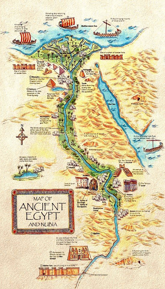 Ancient Egypt Map WITH Real Egyptian Names Of Their Cities - Map of egypt with cities