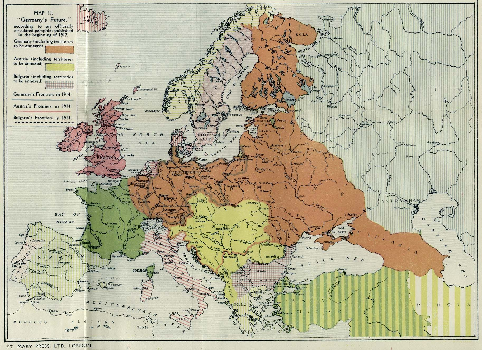 1917 British propaganda map showcasing alleged German