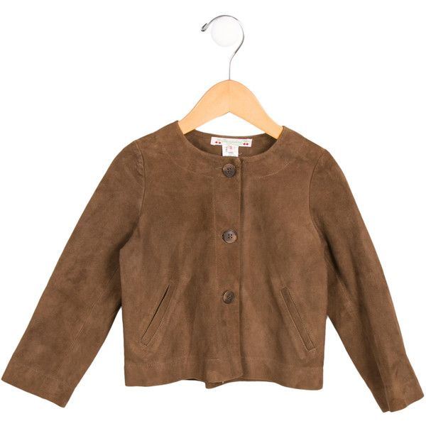 Pre-owned Bonpoint Girls' Suede Long Sleeve Jacket (1.000 NOK) ❤ liked on Polyvore featuring brown