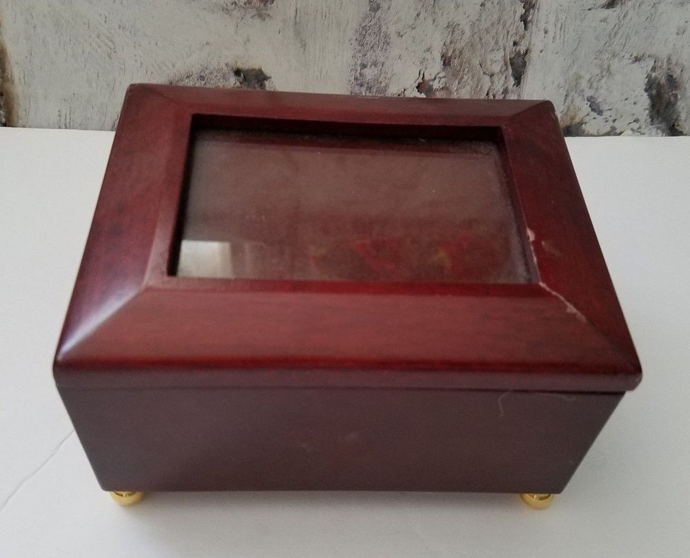 Jewelry Music Box With Picture Frame Plays Endless Love Mahogany ...