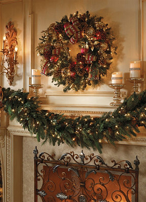 Holiday Garland Pre Lit Garland Pine Garland Frontgate Christmas Fireplace Decor Christmas Decorations Christmas Fireplace