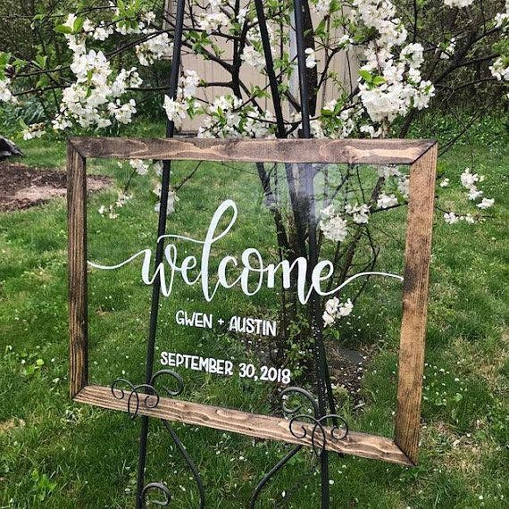 Wedding Sign, Acrylic Sign with Wood Frame
