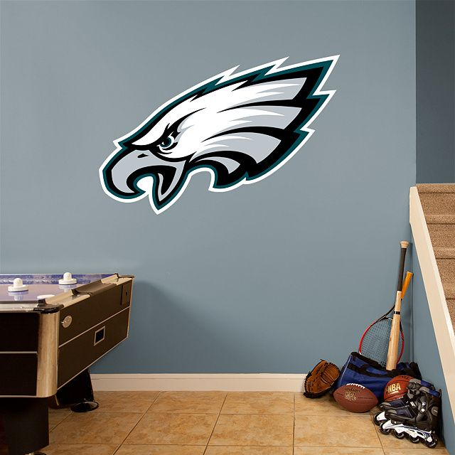 Fathead u2013 Peel u0026 Stick Wall Graphic | Philadelphia Eagles Wall Decal | Sports Home Décor | Football Bedroom/Man Cave/Nursery & Philadelphia Eagles Logo - Giant Officially Licensed NFL Removable ...