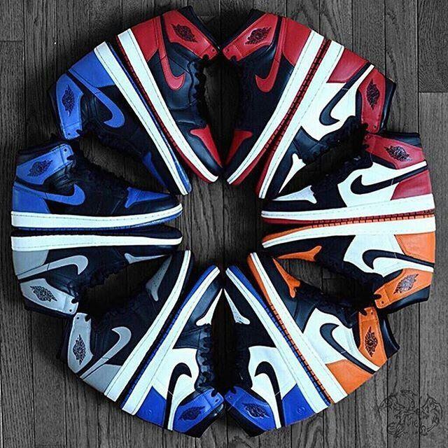 Air Jordan 1. Clockwise: Bred