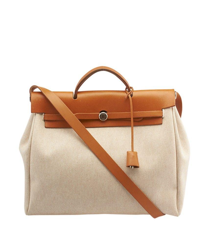 62fbe6e3e Hermes Her Bag 2 Way Beige & Tan Canvas & Leather Satchel | Bag ...