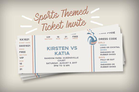 Sports Themed Ticket Invitation @creativework247 Templates - ticket invitation template