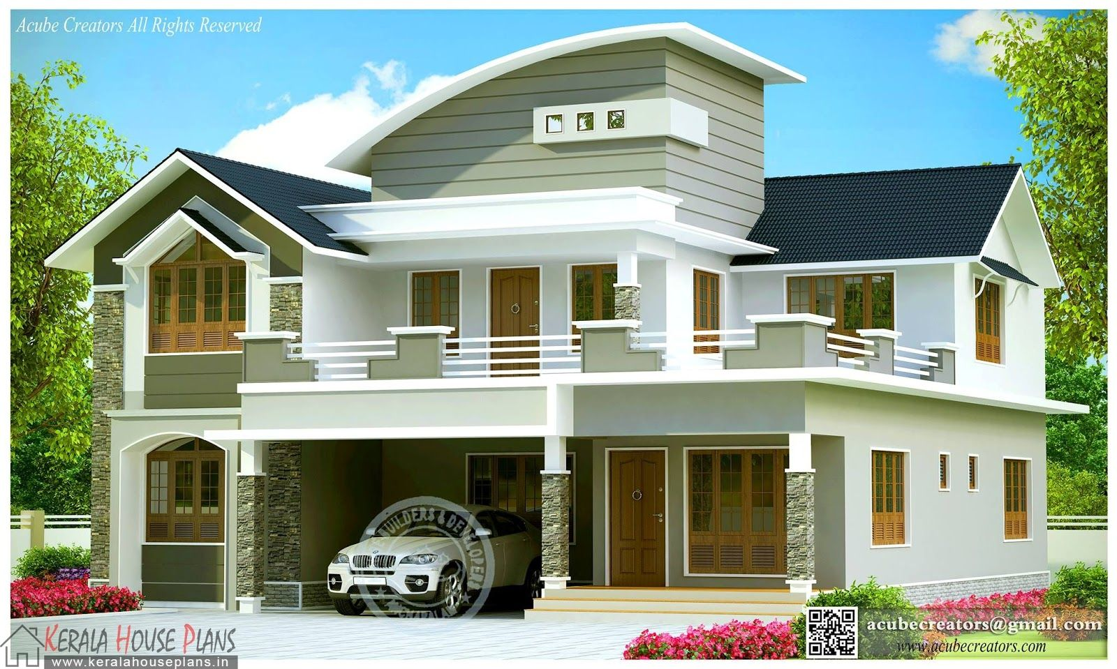 1800sqft Mixed Roof Kerala House Design Kerala House Plans Designs Floor Plans And Eleva Courtyard House Plans Kerala House Design Contemporary House Design