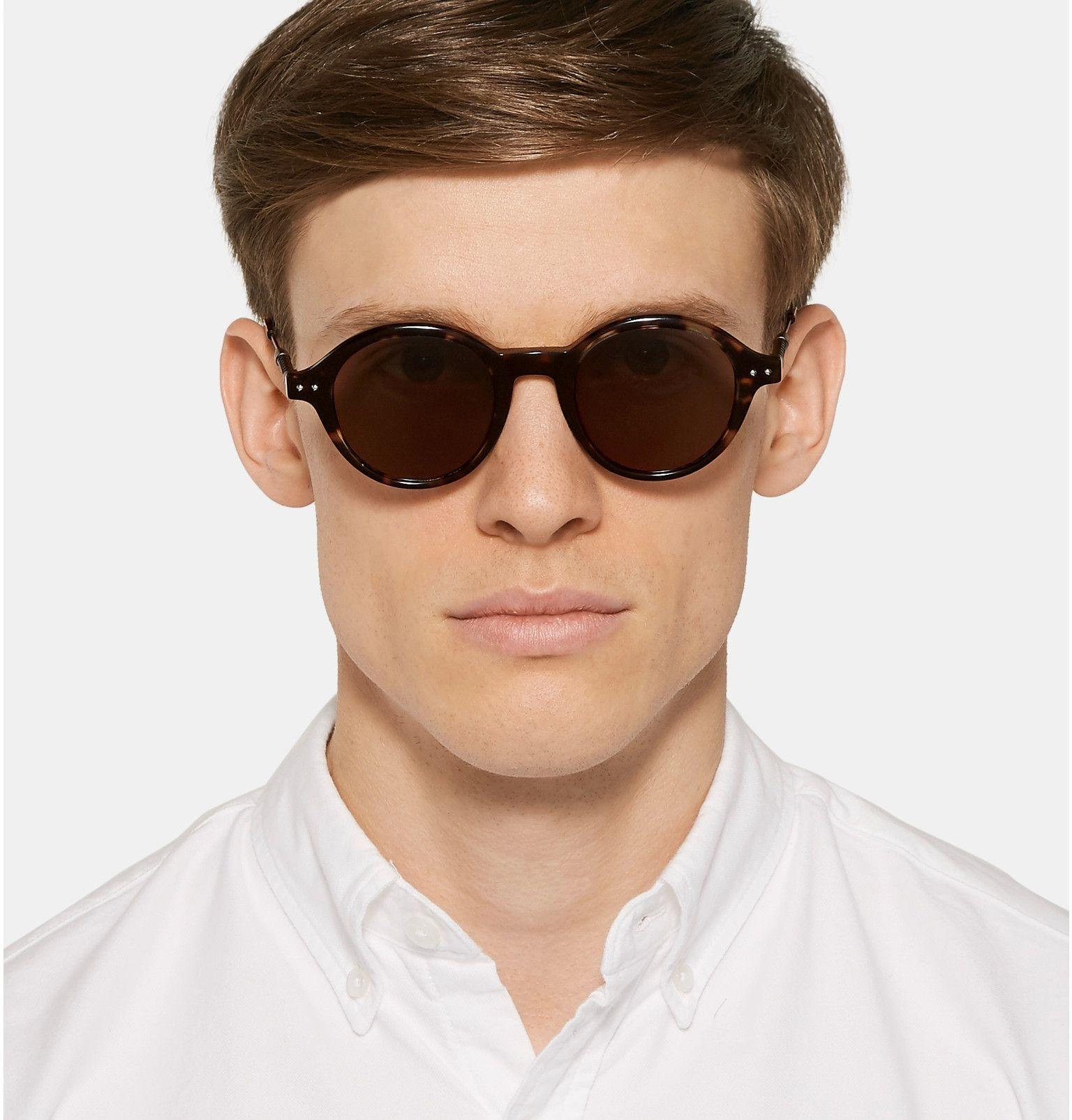89ed50f04 BOTTEGA VENETA Round-Frame Leather-Trimmed Tortoiseshell Acetate Sunglasses