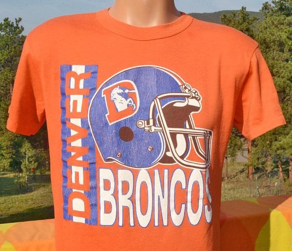 80s Denver Broncos NFL Football T-Shirt. Vintage Soft Thin Orange Helmet Logo Tee. MytislVa39