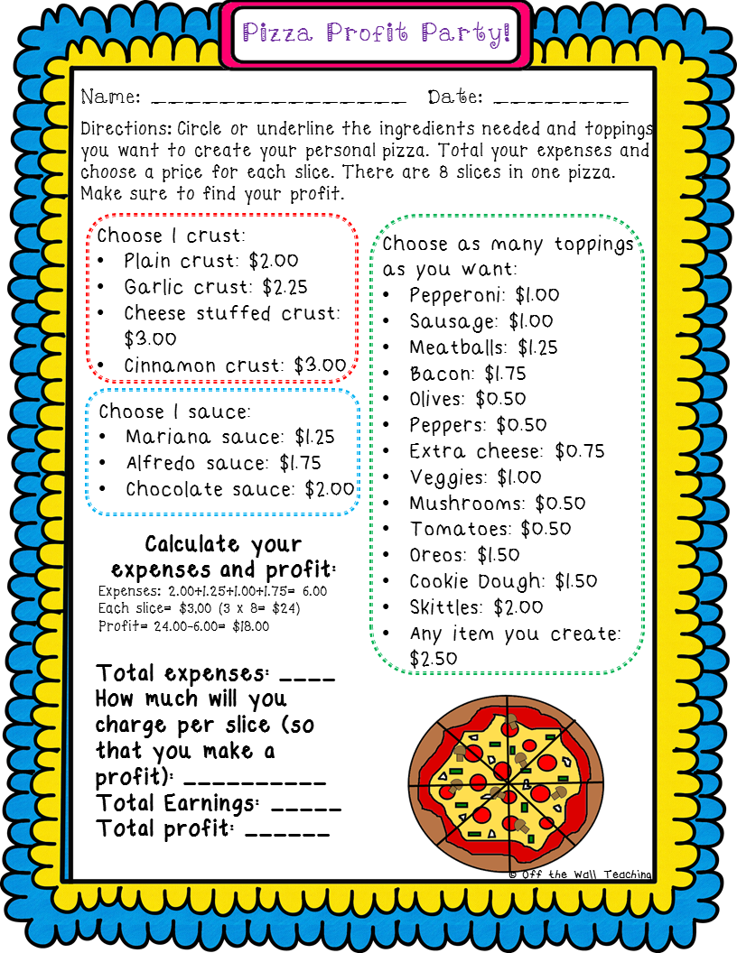 Finding Profit Fun Activity To Teach With Pizzaaaaaaa 4th Grade Financial Literacy Worksheets Money Math Worksheets Money Math [ 1056 x 816 Pixel ]
