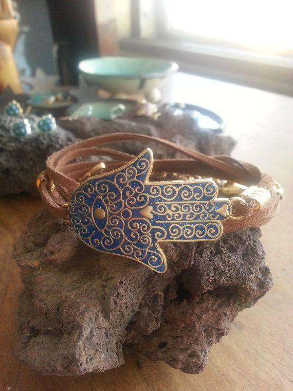 Blue Hamsa Bracelet, Blue Fish Bracelet, Gold Bracelet, Long-Looped Bracelet, Brown Suede Strip, Resin Jewelry