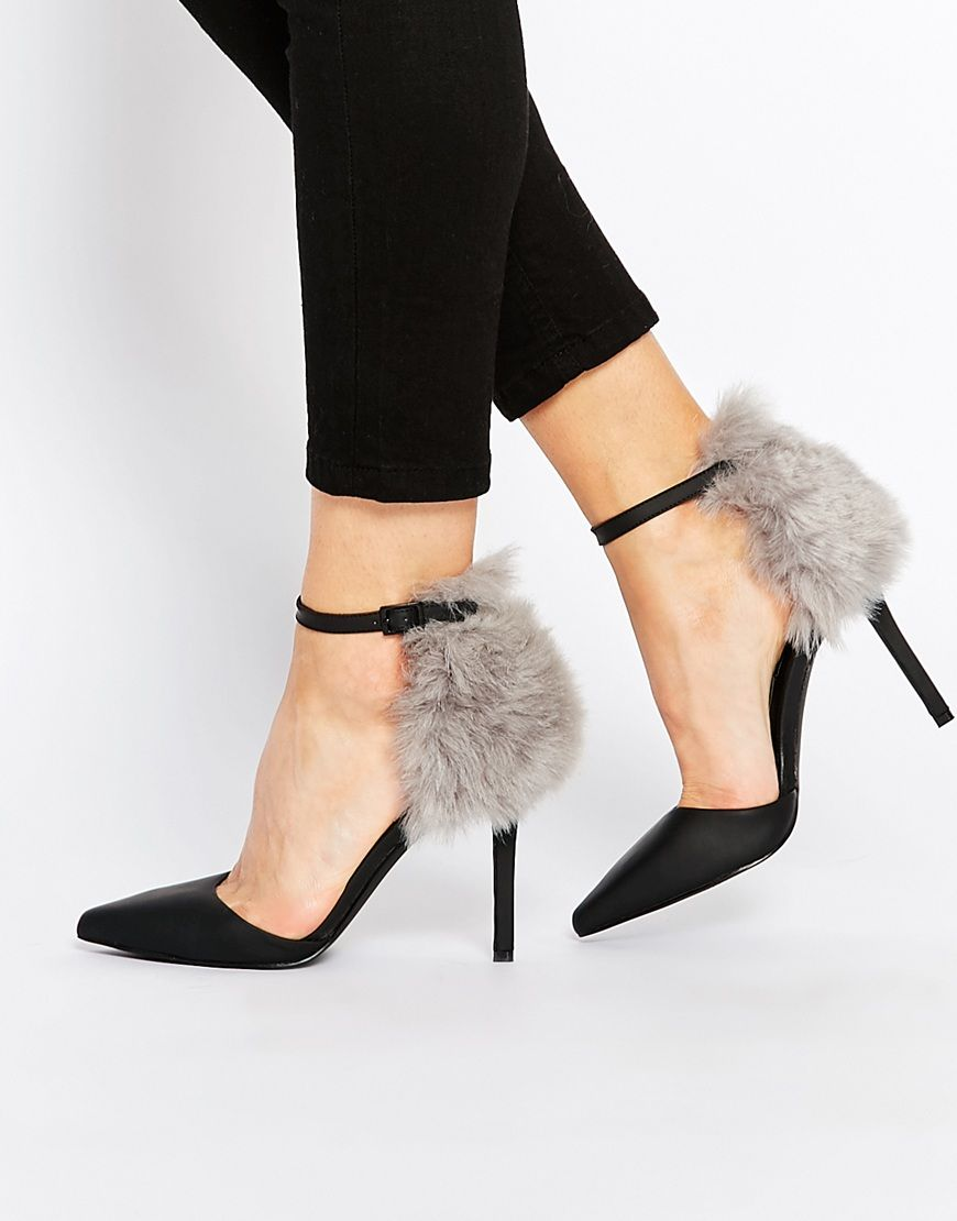 Buy Women Shoes / Senso Romy Black With Grey Faux Fur Heeled Shoes