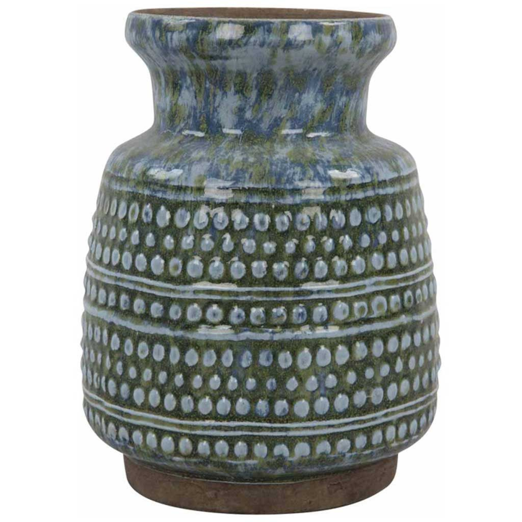 Decor - Distressed Azul Vase - Hutsly. Our favourite use for ceramic vases: displaying lots of them with different shapes, colours and sizes on a console, with or without flowers, and turn it into an art installation, easily changeable and updatable!