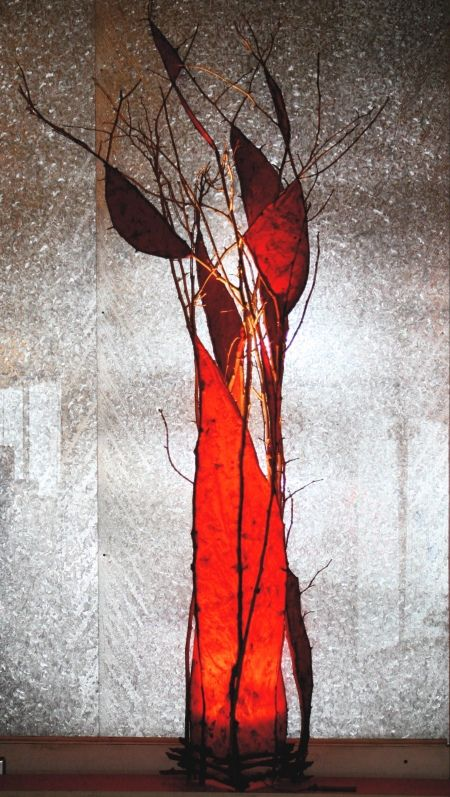 """""""Fiero"""" tall red lamp. Sculptural Lighting by Suzanne Derrer at the Jett Gallery"""