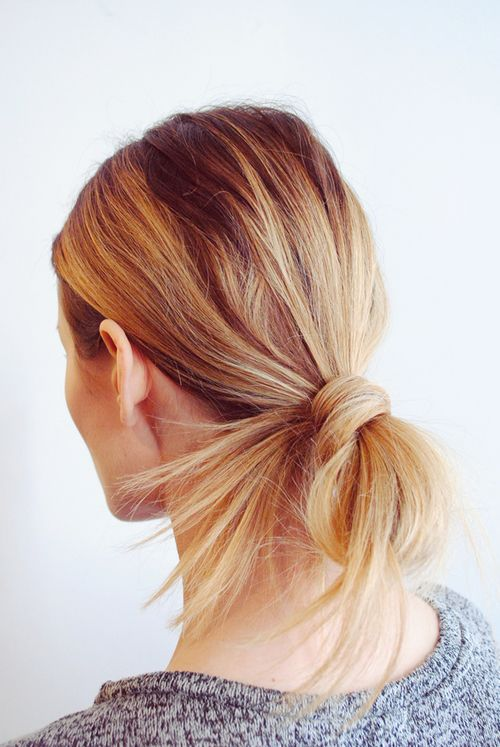 Pretty and simple long hairstyle tied back messy pony bun ...