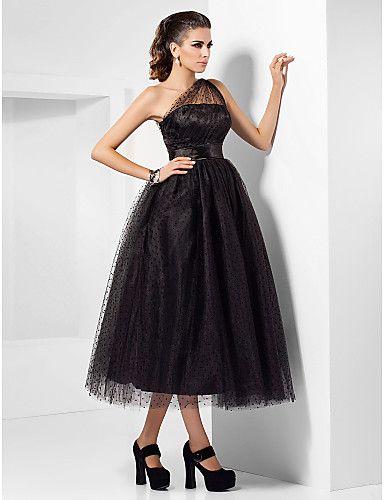 a line one shoulder tea length toule dress