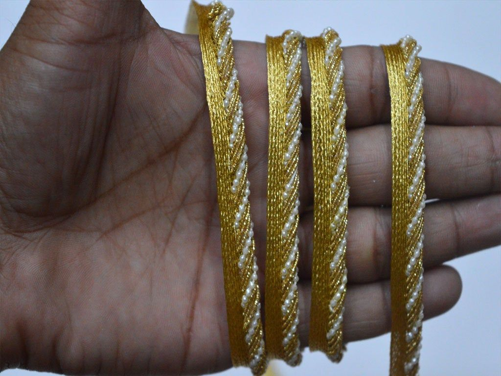 Wholesale Indian Gold Trim Multi Color Twisted Braided Edge Piping Lip Cord lace Upholstery Edging Trimming Embellishment Sewing Trimming Piping Sold by 9 Yard Decorated Costume Accessories