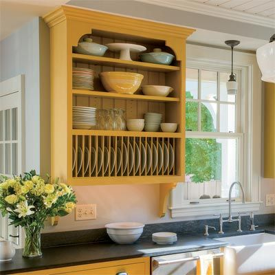 All about kitchen cabinets plate racks crown and shelves for Open style kitchen cabinets
