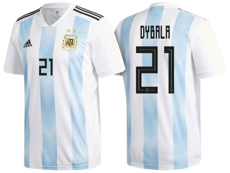 a06d4279d Men s Argentina Forward  21 Paulo Dybala 2018 World Cup Home White   Blue Player  Jersey
