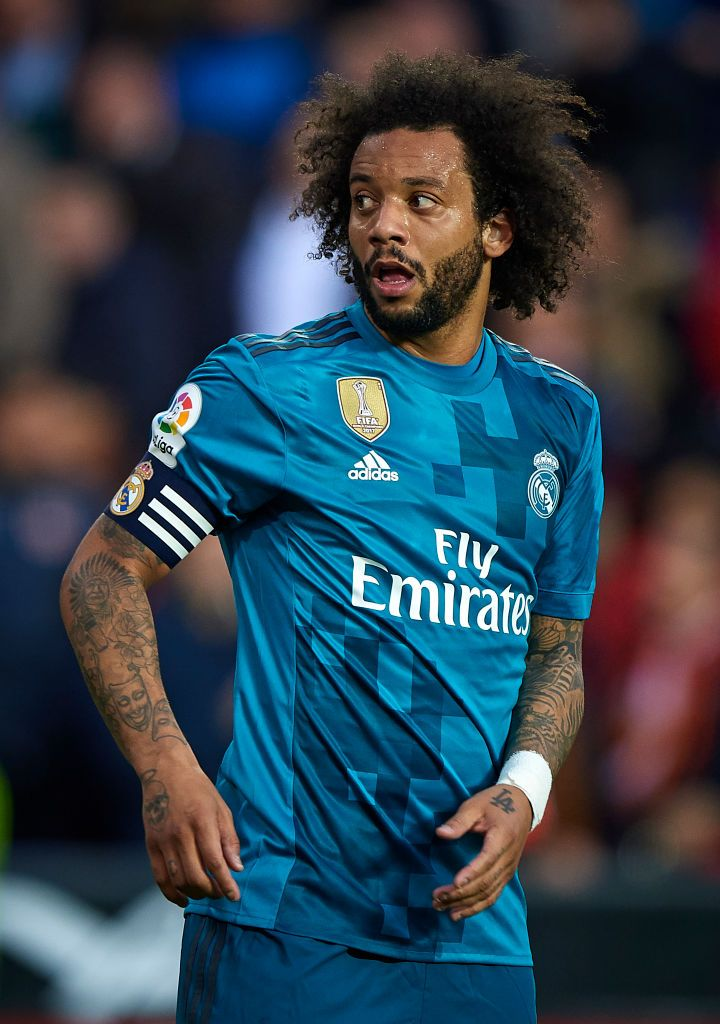 Marcelo Vieira: VALENCIA, SPAIN - JANUARY 27:  Marcelo of Real Madrid looks on during the La Liga match...