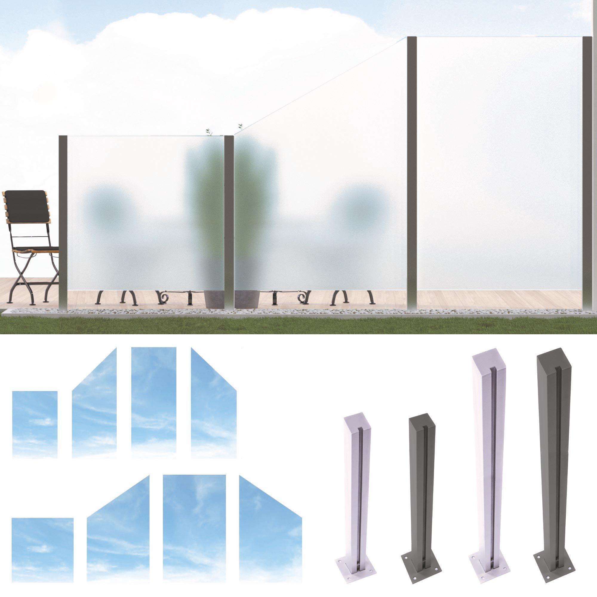 Hochwertiger Design Glas Sichtschutz Glaszaun Windschutz