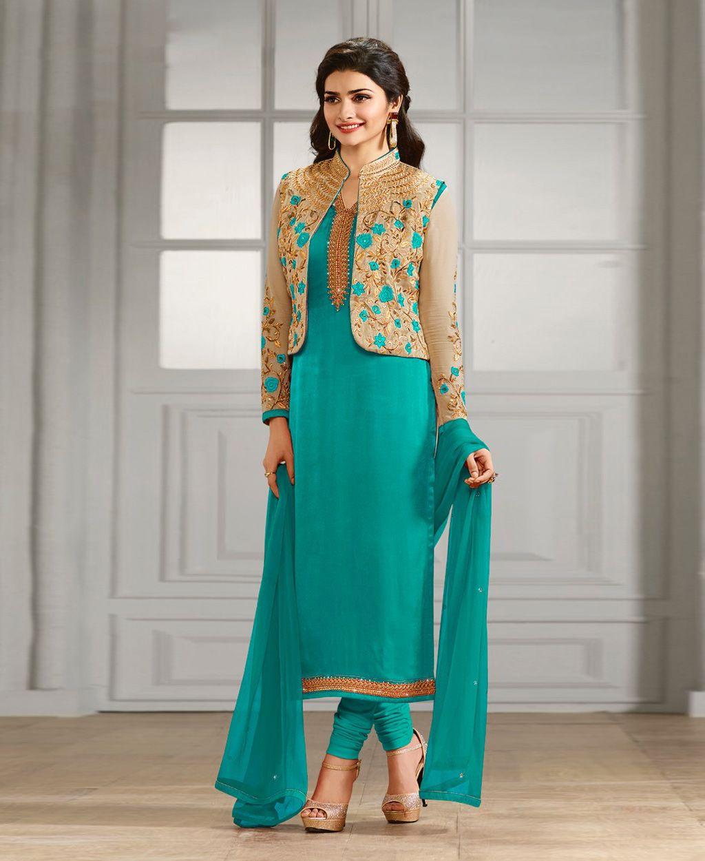 Prachi Desai Aqua Georgette Churidar Suit 78475 | Libaas | Pinterest ...
