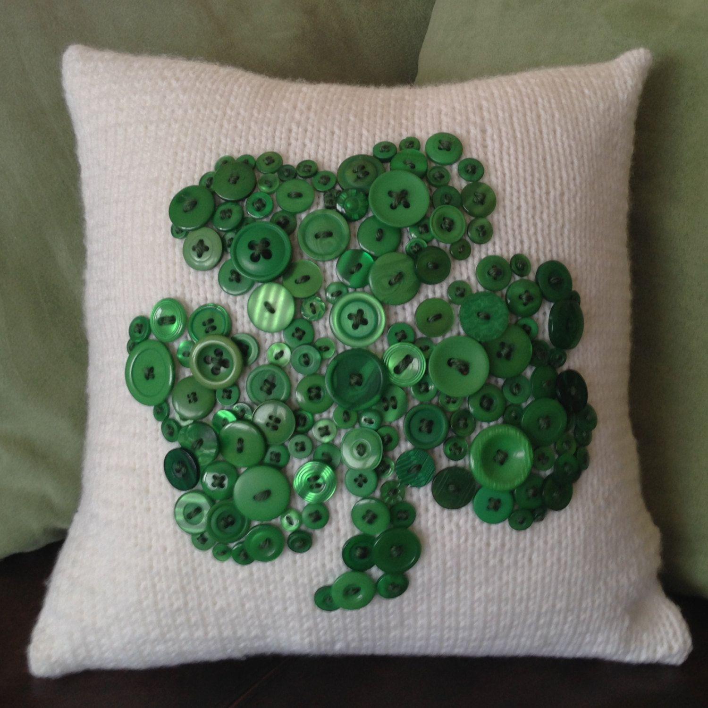 Emerald green irish shamrock hand knit x pillow cover with