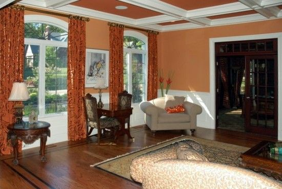Living Room Terra Cotta Accent Wall Design Pictures
