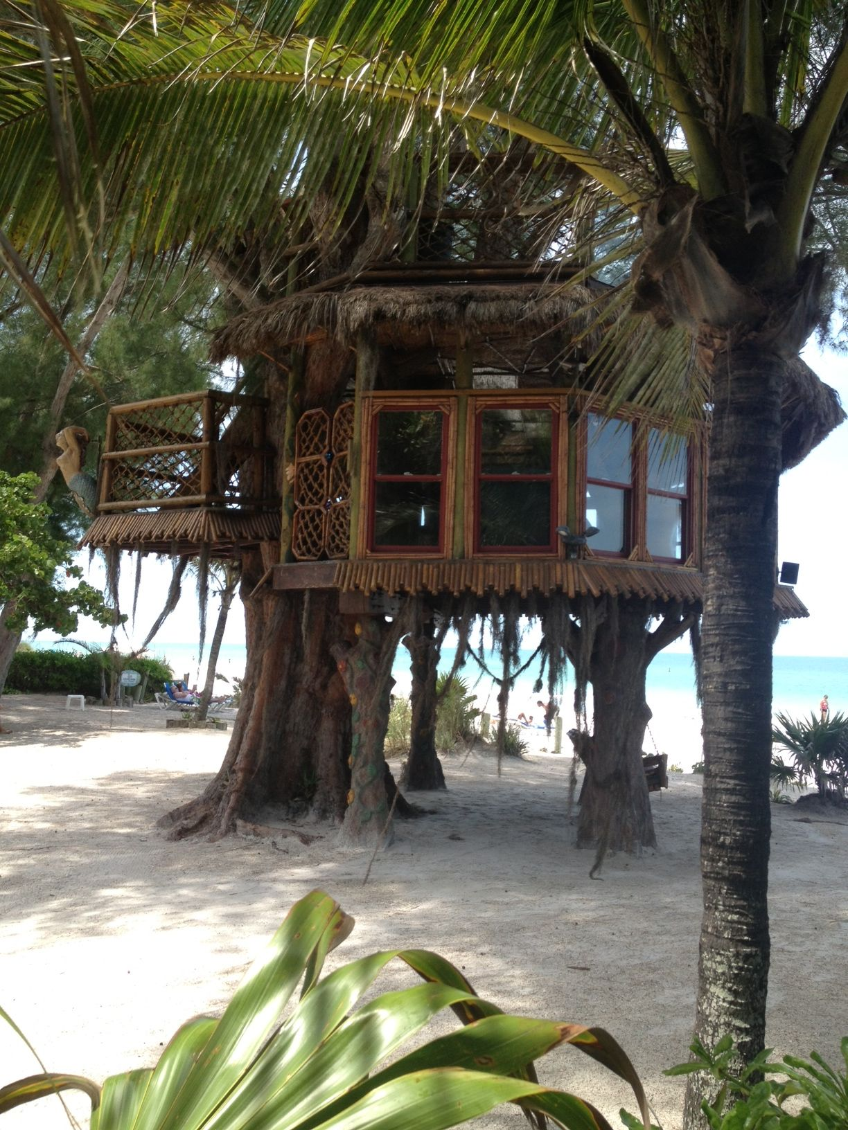 Treehouse on the beach in Holmes Beach, on Anna Maria Island, Florida. Taken June 11, 2013.