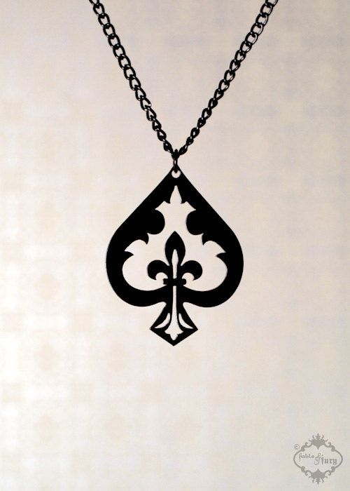 Fleur de lis spade necklace in black stainless by fableandfury ace fleur de lis spade necklace in black stainless steel alice in wonderland ace of spades aloadofball Image collections