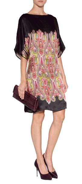 Pretty multicolored paisley pattering lends a boho-chic look to this breezy silk georgette tunic from Collette Dinnigan #Stylebop