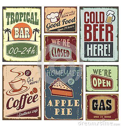 Vintage Style Signs Stock Photos Image 27498583 Retro Sign Retro Poster Retro Metal Signs