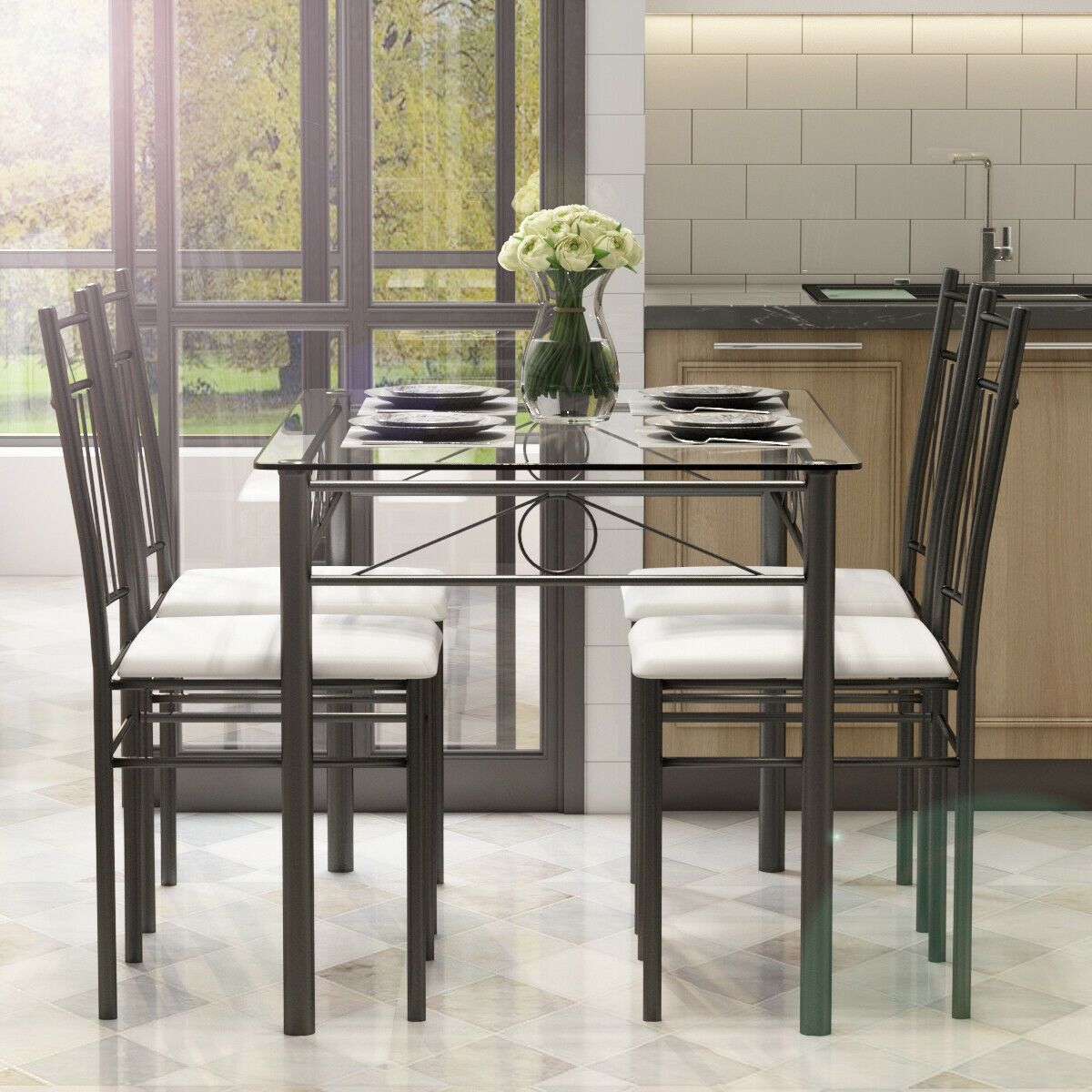 5 Pcs Glass Metal Table And 4 Chairs Dining Set Dining Room Design Glass Dining Table Set Metal Table