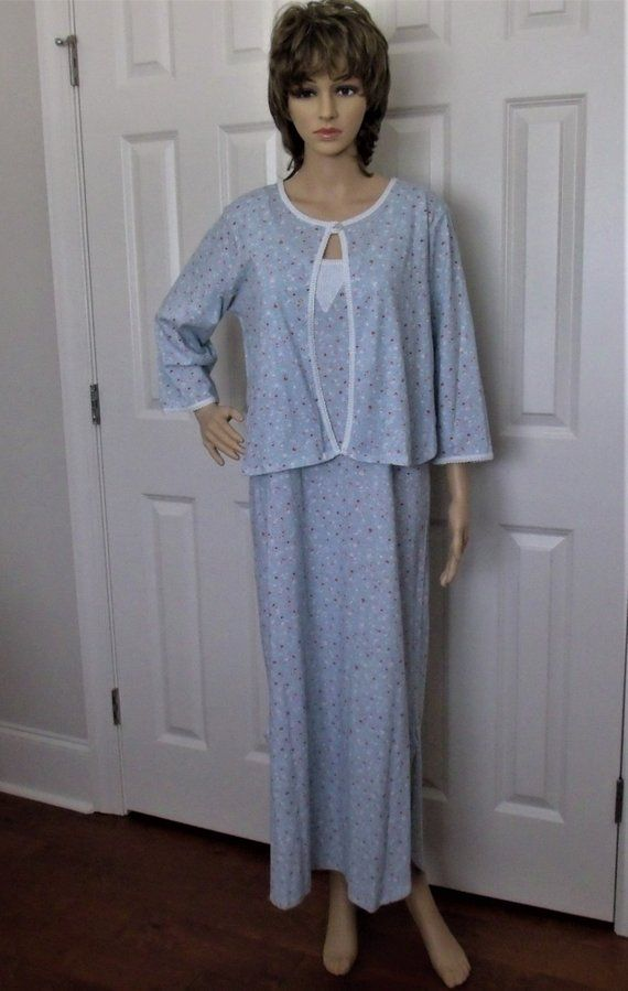 Carole Hochman Nightgown Bedjacket Set Cotton Knit NOS with Tags Size S M bf0fe09be