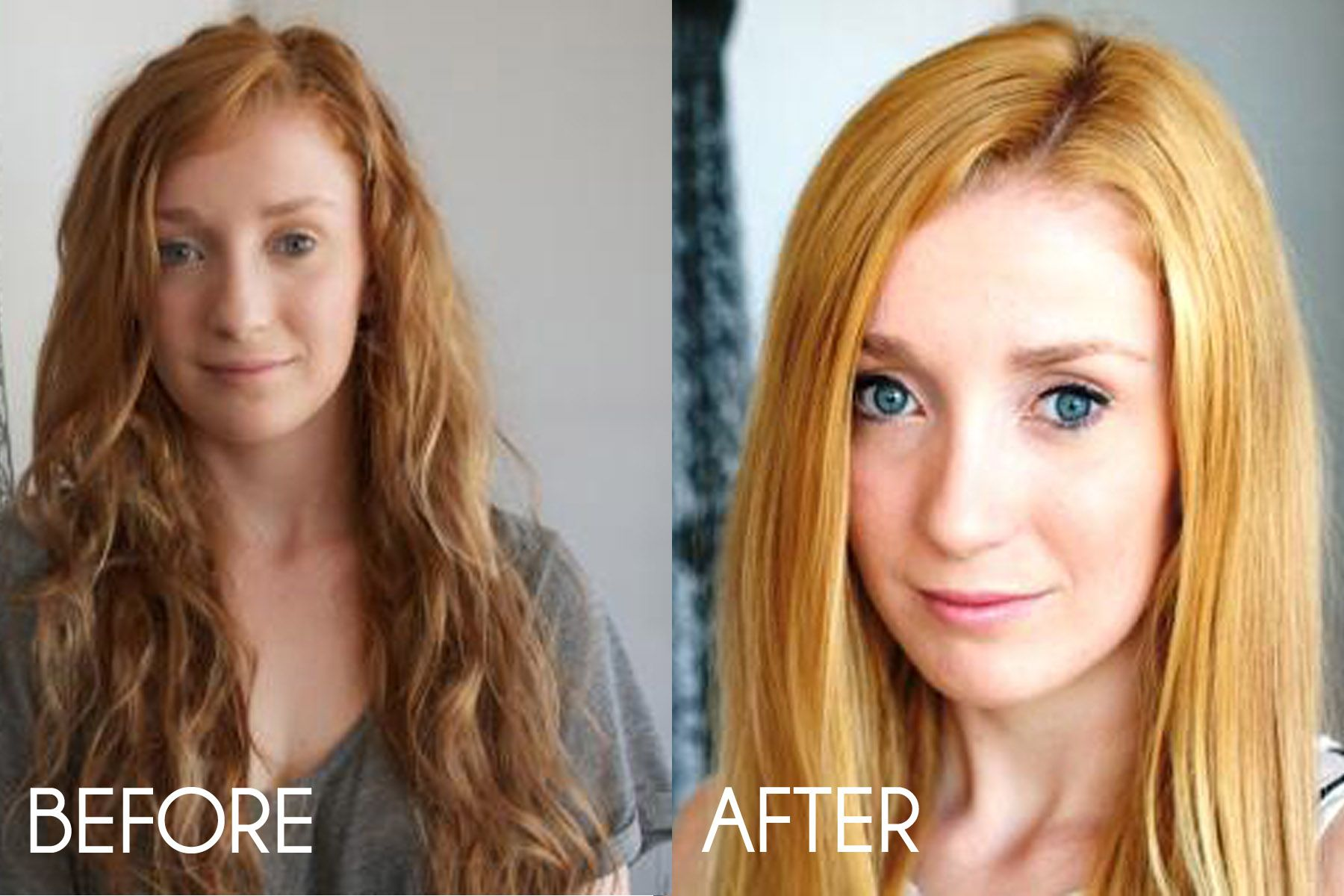 Before and after using Hair Nation's Hair Colour Remover ...