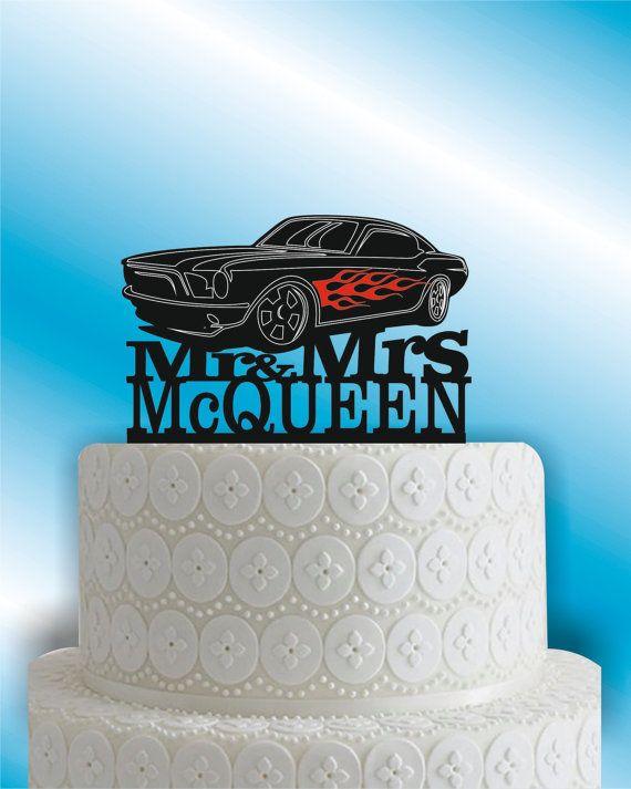 Hot Rod Cake Topper Race Cake Topper Car Cake Topper Mustang Car Cake Toppers Monogram Wedding Cake Wedding Cake Toppers Unique